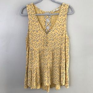 AEO yellow floral tiered strappy V-neck tank top